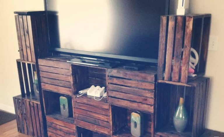 Farmhouse inspired TV stand with hidden storage using wooden crates