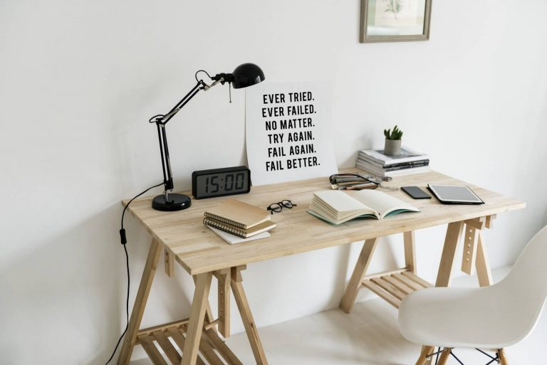 DIY Wooden Computer Desk with Books