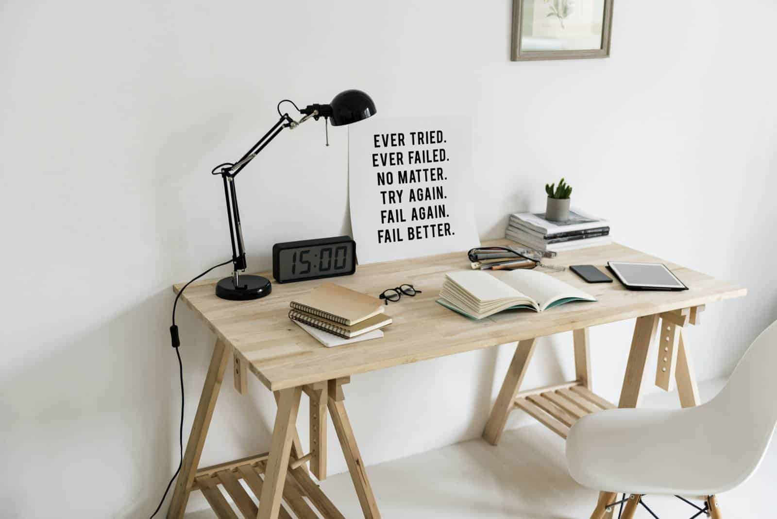 Wooden Desk with Books