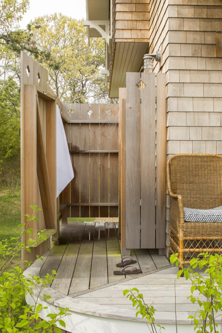 Wooden Fence Outdoor Shower