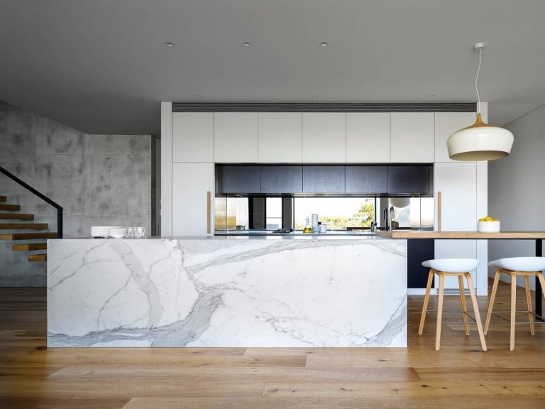 Wooden Floor White Kitchen Marble