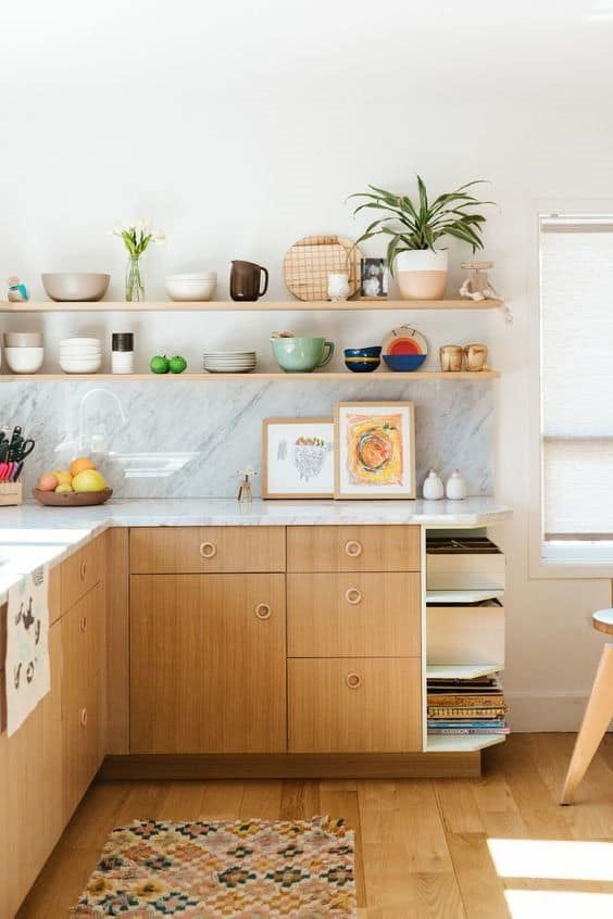 Wooden and Marble Mid Century Modern Kitchen