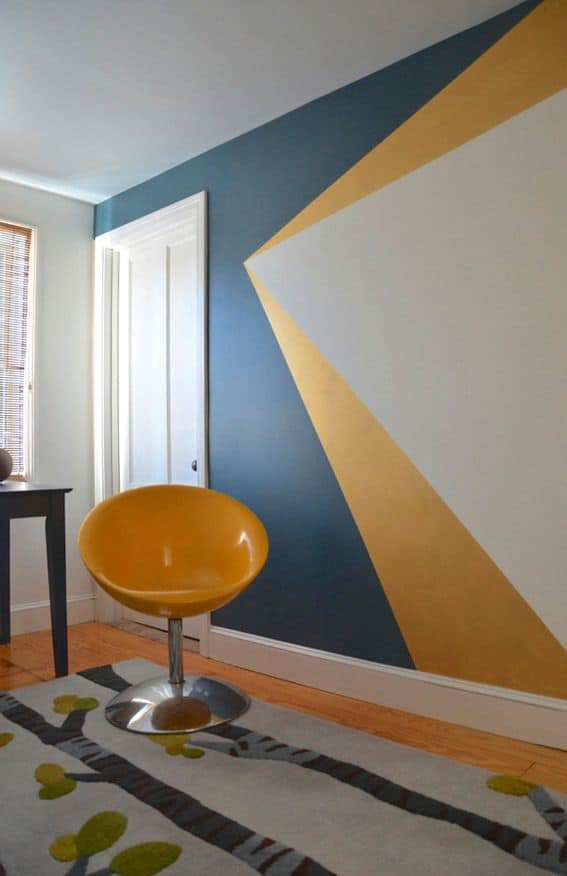 Yellow Navy Triangle Geometric Wall Paint