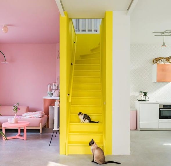 Yellow Painted Stairs