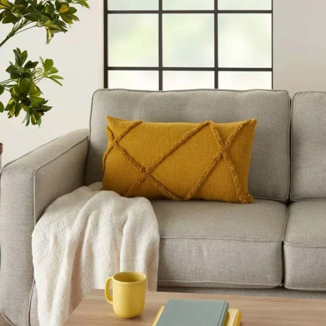 Yellow Textured Pillow Ideas For A Gray Couch