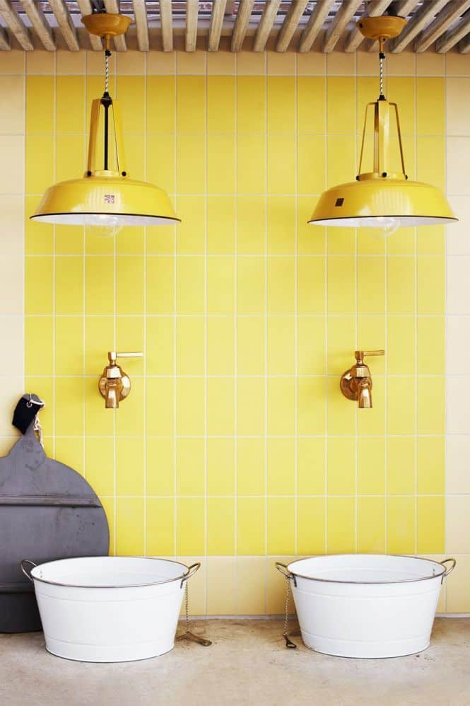 Yellow Wall Farmhouse Bathroom Decor Ideas