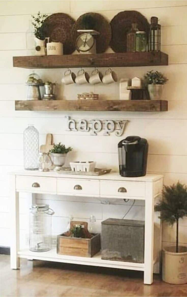 Open shelves kitchen coffee bar ideas