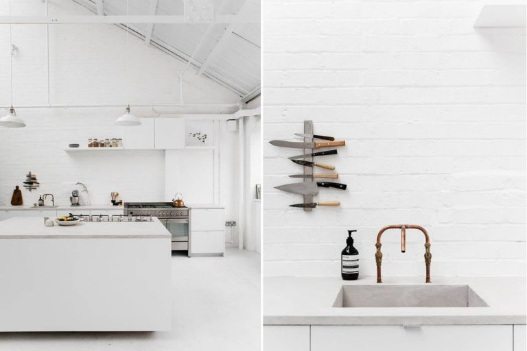 white industrial kitchen with Smeg appliances